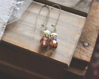 Speckled ivory, rhinestone, and sparkling rose bead drop earrings, kidney wire earrings