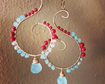 Coral and turquoise swirl earrings