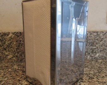 Stainless steel napkin holder- double sided- spring loaded- 1970s- restaurant ware
