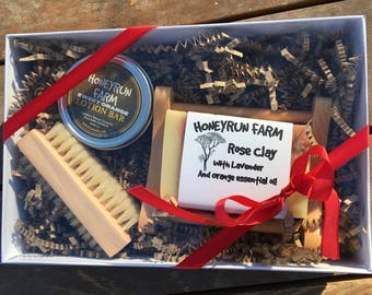 Soap and Lotion Bar Gift Package -Nail Brush, Soap Dish, Rose Clay soap, Lotion Bar
