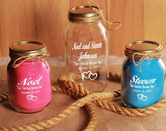 Redneck Unity Sand Ceremony, Engraved 3 piece set- Personalized - Mason Jars