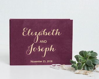Marsala Wedding guest book alternative, Gold foil wedding Instax Photo guest book ideas, Wedding sign in book, Personalised guest book