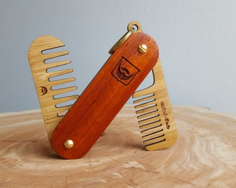Beard Comb Keychain - Personalized Pocket Grooming Set Made of Premium Padauk Hardwood and Sustainable Bamboo  -  The Dual Tool