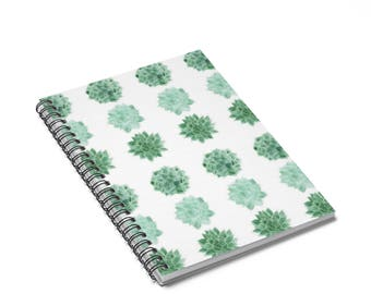 Succulent Notebook, cactus notebook, succulent journal, plant lover gift, cactus journal, spiral notebook, plant notebook