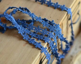 2 Yards of Dark Blue Flower Lace Trim 1.4cm Width