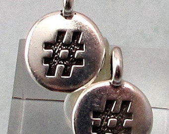 Small Hashtag Charm, Antique Silver, TierraCast, 2-Pc. TS127