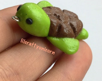 Kawaii turtle polymer clay charm