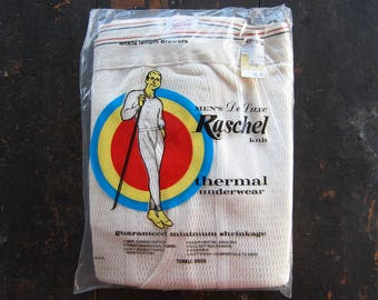 Vintage 1970s Thermal Underwear NOS Waffle Knit Bottoms Made in USA - Size XL