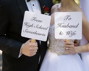 Wedding Picture Signs - From High School Sweethearts to Husband and Wife From College Sweethearts to Husband and Wife Wedding Photo signs
