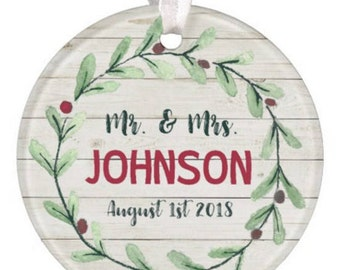 Personalized Wedding Ornament, Christmas Ornament, Anniversary, Christmas Gift, Holiday Ornament, Wedding Ornament, RyElle, Real Estate Gift