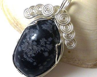 Snowflake Obsidian Tumbled Stone and Sterling Silver Pendant