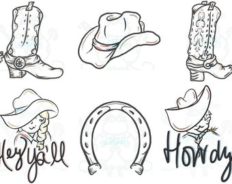 Western Cowboy & Cowgirl Digital Clip Art Hand Drawn Instant Download Digital Artwork Hat boots horse shoe country Howdy Word Clip art youth