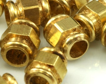 15 pcs raw brass cylinder 7x6 mm (hole 3 mm) industrial brass charms, pendant, findings spacer bead bab3 1528