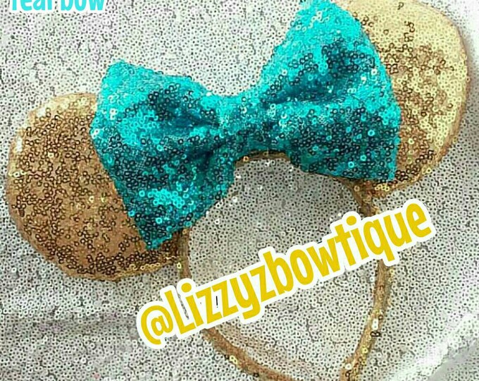 Gold Sequin Minnie ears or Pick any color sequin bow