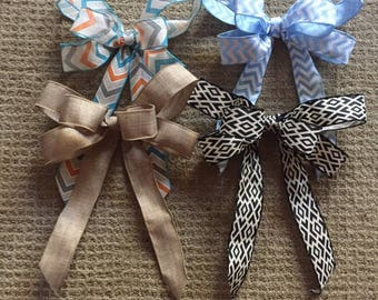 Handmade burlap ribbon bows, use for wreaths and other crafts, many different prints