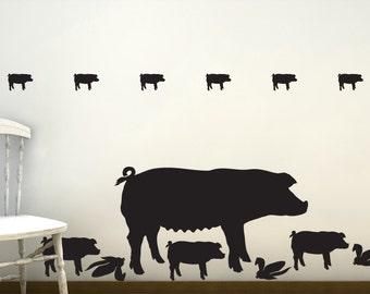 Pig Wall Decals - Farm Life, Farm Animal Wall Decals, Barnyard Animals, Country Decor, Rustic Farm Decor, Barnyard Birthday
