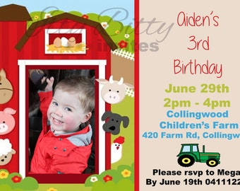 Personalised kids farm barnyard birthday invite invitation customs orders welcome