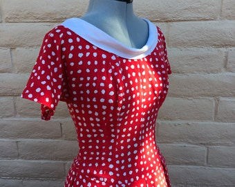 Vintage Theo Red Polka Dot Bombshell Rockabilly Dress VLV Sz S