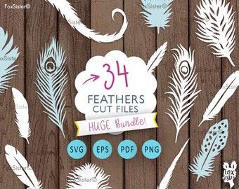34 Feathers SVG Bundle! Cut File Templates | Feather | Feather vector | feather silhouette | svg cut files | Paper & vinyl | Cricut | Cameo