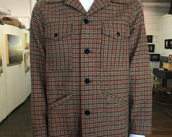 Classic 1960's Pendleton Plaid Check Wool Jacket with 4 pockets - Vintage Clothing, Men's Jacket, Size Large