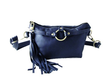 Blue Leather hand-freed bag, Waist Bag, Fanny Pack, Small Leather Pouch with Tassel - Royal Blue