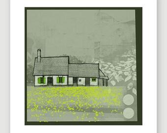 Varengeville House - limited edition fine art giclee print; illustration, collage, France, French, flowers, rural, scenic, cottagegarden,