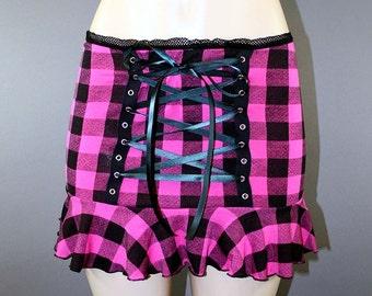 Reversible Pink Buffalo Plaid Grunge Corset Checker Punk Skater Mini Skirt