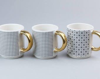 ESPRESSO PATTERN -coffee cup ,espresso cup , ceramic cup , white cup , golden handle , contemporary ceramics , nordic design,handmade
