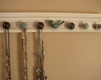 YOU CHOOSE 5, 7 or 9 KNOBS Jewelry organizer.This wall rack,necklace hanger features  bird center knob  off  white. beautiful gift & storage
