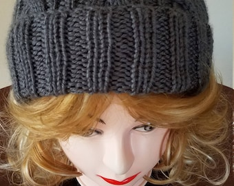 Charcoal Grey Color Cable Hand-Knit Hat. Super soft - Ready to be Shipped