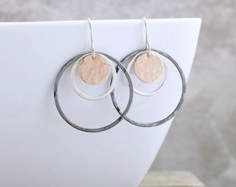 Rose Gold Circle Earrings Mixed Metal Jewelry Geometric Earrings Hammered Circle Earrings Unique Jewelry Minimalist Earrings Gift For Her