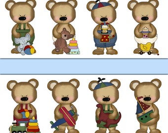 TEDDY BEAR BORDER Decal Boy Nursery Wall Art Woodland Animal Stickers Room Decor