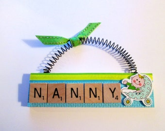 Nanny with Baby in Buggy Scrabble Tile Ornament