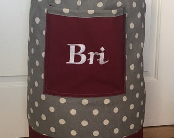 Monogrammed Laundry Duffel Bag, Maroon, Gray Polk a dot, Laundry Bag, Laundry Bag for College, Hanging Laundry Bag, Laundry Hamper