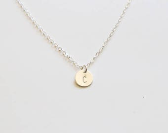 Initial(s) Disc Necklace, Sterling Silver