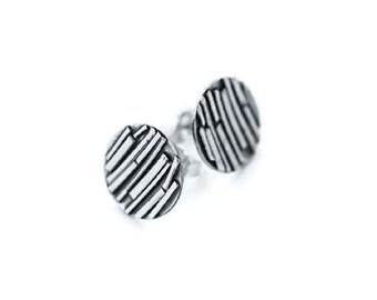 Sterling Silver Disc Stud Earrings, Disc Stud Earrings, Silver Disc Earrings, Round Disc Earrings, Handmade Earrings, Round Silver Studs