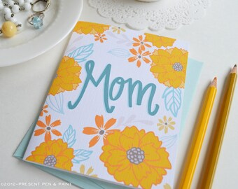 Mother's Day Card Floral, Mom, Yellow, Pretty, Floral, Stationery, Hand Drawn, Illustration, Flowers, Flora, Happy Mother's Day