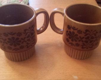 Vintage Brown Flower Design Made in Japan Stacking Mugs