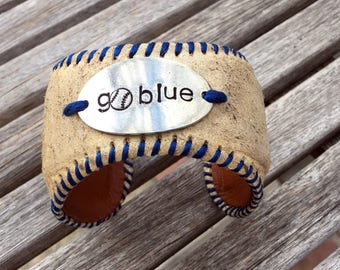 DODGERS!  Go blue!  Recycled real baseball cuff bracelet Dodger Baseball Jewelry - Gifts for her - world series 2017 - Dodger fashion