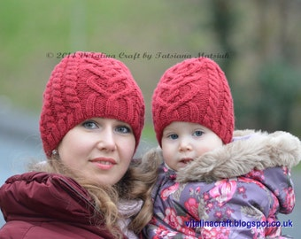 Knitting Pattern - Valentine Cable Hat (From Toddler to Adult sizes)