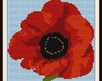 Poppy C2C Graph, Poppy Afghan, Poppy Crochet Pattern, Poppy Corner to Corner
