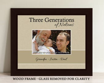 Three Generations Picture Frame Four Generations Picture Frame Personalized Picture Frame Christmas Gift Gift For Dad Gift for Mom