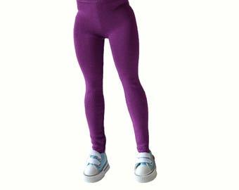 Handmade leggings, curvy Barbie clothes, fuchsia leggings for Curvy Barbie, Curvy barbie handmade, barbie pants
