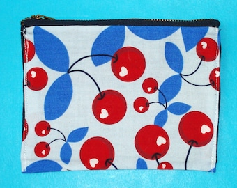 LAST ONE! Cherry Bomb Red and Blue Rockabilly Pop Art Printed Zippered Clutch Purse