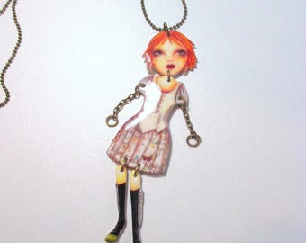 Necklace long mistinguette bronze doll articulated character