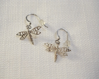 Vintage 1990s 90s Dragonfly Earrings Sterling Silver Earrings Tiny Dragonflies Etched Earrings Insect Jewelry Bug Jewelry Silver Dragonflies