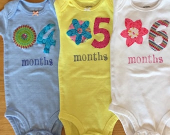 Girls Floral Month-by-Month Bodysuits (Months 4-6)