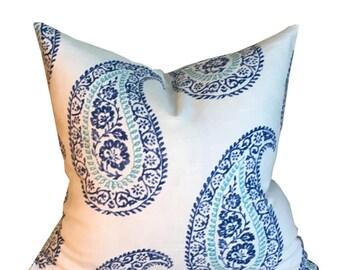 Designer Pillow Cover Kravet MADRIA Single Sided Paisley in Blue on off White