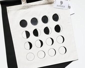 Handmade Moon Phase Tote Bag - Custom Tote Bag - Handmade Tote Bag