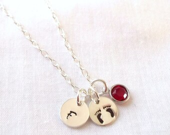 Personalized Baby Footprints Necklace w/ Birthstone -- Sterling Silver, Mother's Necklace, New Mom, Keepsake -- MADE TO ORDER
